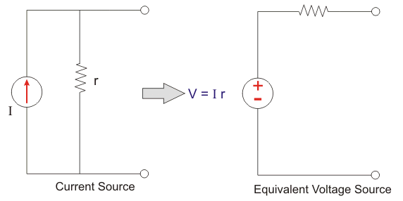 current to voltage source transformation