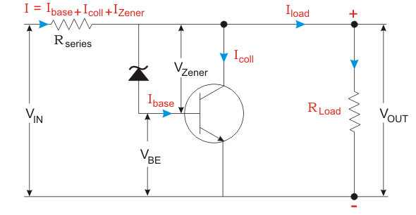 zener controlled transistor shunt voltage regulator