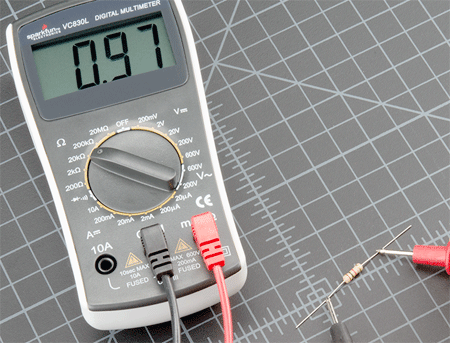 resistance measurement by using a digital multimeter