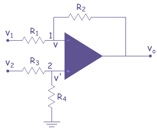 Difference Amplifier or Op Amp Subtractor | Electrical4U