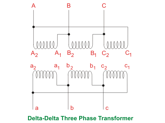 delta delta three phase transformer