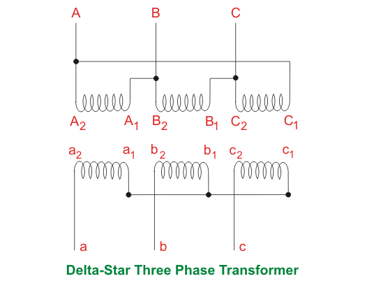 delta star three phase transformer