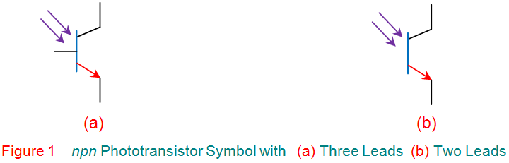 npn phototransistor symbol with three leads two leads