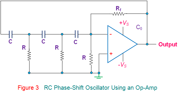 rc phase shift oscillator using an op amp