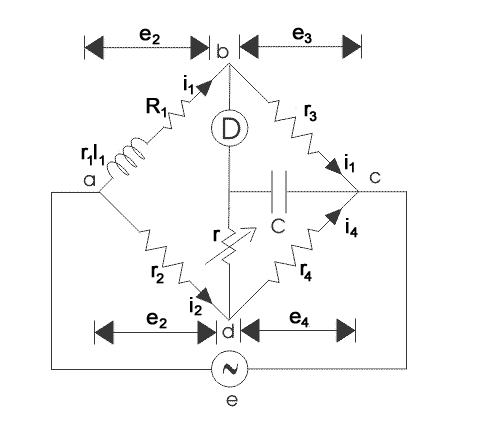 Maxwell Inductance Capacitance Bridge: Diagram