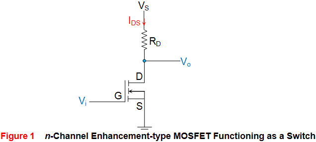 n channel enhancementtype mosfet functioning as a switch