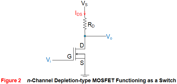 n-channel depletion-type mosfet functioning as a switch