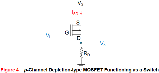 p channel depletion type mosfet functioning as a switch