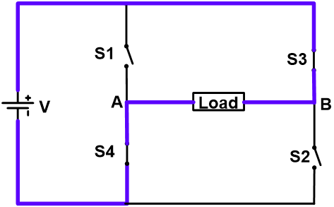 Negative Half Cycle of Single-phase Full Bridge Inverter
