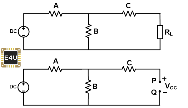 open circuit condition with load and resistance 1