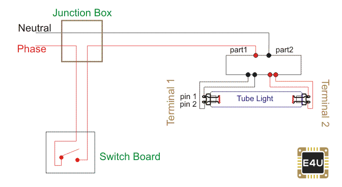 single pole switch to fluorescent light wiring diagram tube light connection circuit   wiring diagram electrical4u  tube light connection circuit   wiring